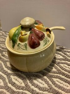 Ceramic Soup Tureen with Lid & Ladle - Yellow Basket Style- Vegetable Top Design