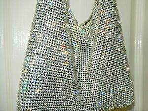 THE EXQUISITE SOLD OUT TOP SHOP LONDON SHIMMERING SILVER CRYSTAL BAG