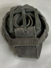 *PISTIL* Genuine Suede Leather Braided Belt Gray