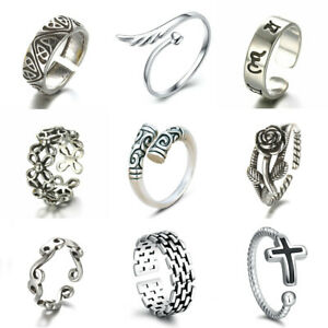 925 Silver Plt Adjustable Open Band Thumb Rings Ladies Statement Gift Wrap UK