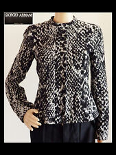 NEW GIORGIO ARMANI Black Label SNAKE/PYTHON Print Wool Cafe Racer Jacket~Sz 38/4