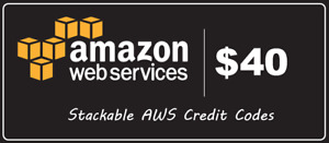 AWS $40 Amazon Web Services Credit Code Lightsail EC2 40CY210101 Immediately