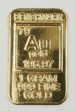 GOLD 1GRAM 24K PURE GOLD BULLION BENCHMARK ELEMENTAL BAR 999 FINE GOLD B21