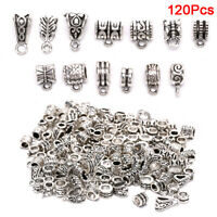 120x Metal Connectors Spacer Beads Bail Tube Beads Charms DIY Jewelry MakingAF