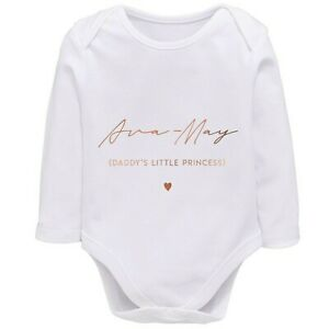 Rose Gold Personalised Babygrow for Daddy's Little Princess, Newborn Baby Gift