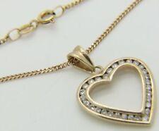Collares y colgantes de joyería con diamantes naturales de oro amarillo corazón