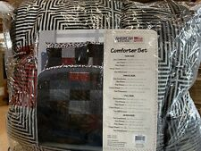 American Original Geo Blocks Bed In A Bag Comforter Set Full Size Black Red NEW