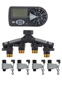 Orbit 4 Station Automatic Yard Water System Watering Tap Timer +4 Valves 16-10N