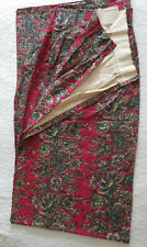 """Pleated Curtains Drapes Lined Set of 2 60""""W x 88""""H panels, Red/Maroon Floral"""