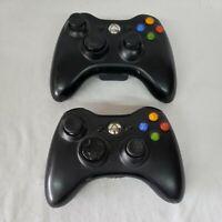 Genuine Microsoft Xbox 360 Black Wireless Controller Model 1403 Tested Lot of 2