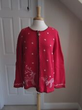 SWEATER - Coldwater Creek - Red - Cardigan - Winter - Reindeer - X-Large