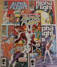 5 Alpha Flight comic books (80s era) - most VF/NM - five comics!