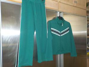 METROSTYLE 2pc Retro TRACK SUIT GREEN Jacket & Pant SET WALKING Petite Small 6-7