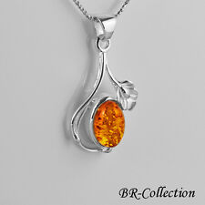 Sterling Silver Pendant with Natural Baltic Amber Stone