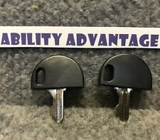 2 NEW: OEM KEYS fit Pride Mobility GO GO Scooters and some others. KEYSCO1007.