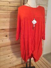 *Zedd..Plus* Long-Tunika/Kleid, Crinkle-Look Gr 46-50 (2), orange-rot, mit Kette