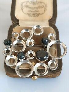 Wunderschöne Designer Brosche Silber 925, Labradorit Steine, Meistermarke, 70er