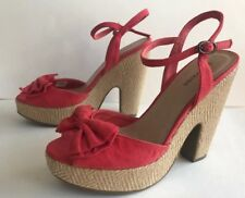 Call It Spring Platform Peeptoe Coral Bow Vintage Betty Grable Brazilian Sandals