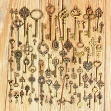 69pcs/set Antique Vintage Old Look Bronze Skeleton Keys Fancy Heart Bow Pendan