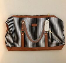 """KIDMAN Black and White Striped Fabric 20"""" Weekender Bag Faux Leather Trim - NEW"""