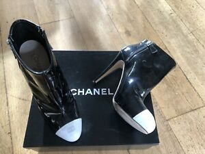 Chanel Classic Black White Patent Hign Heel Boots Shoes 42 41 Authentic