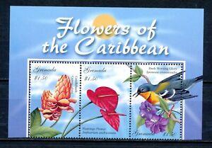 Grenada Postfrisch Vögel Blumen