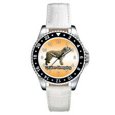 Catalan Sheepdog Dog Fashion Unisex Mens Womens Leather Band Wrist Watch