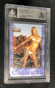 Stacy Keibler Signed 2004 Fleer WWE Divine Divas Location Card Beckett Certified