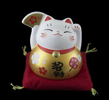 Lucky Cat Figurine Chat Japonais Eventail doré Maneki Neko 79 mm Ceramique 40695