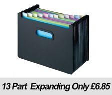 Expanding Desk Organiser Box File LANDSCAPE 13 Part - BLACK 1 Fast Dispatch