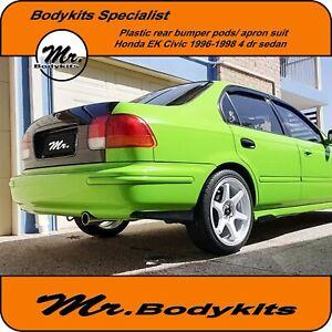 Plastic Mugen style rear bumper pod/apron For Honda Civic EK 1996-1998 Sedan