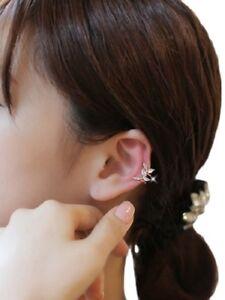 SWEET SINGLE EAR CLIP IN RHINESTONES SMALL LEAVES DESIGN - LEFT EAR