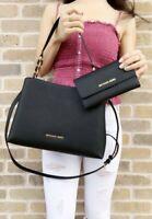 Michael Kors Sofia Portia East West Satchel Black Handbag Large Trifold Wallet