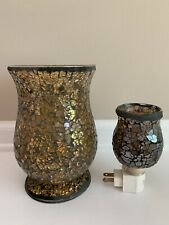 Mosaic Glass Night Light And Candle Holder Set