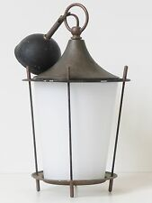 ADORABLE LANTERNE LAMPE SUSPENSION VERRE OPALIN 1950 VTG ROCKABILLY 50S LANTERN