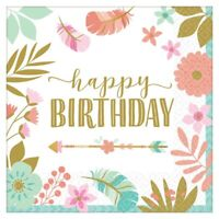 BOHO BIRTHDAY GIRL LUNCH NAPKINS PACK OF 16 BIRTHDAY PARTY SUPPLIES