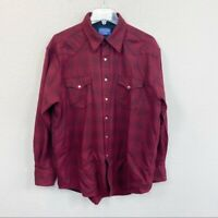 Pendleton Washable Wool Red Plaid Pearl Snap Button Up Shirt Mens size Large