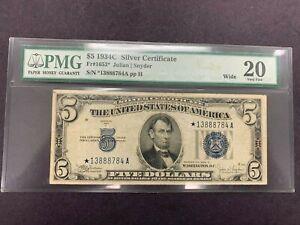 USA  5 Dollars  1934 C  -- Silver Certificate STAR -- PMG graded VF 20
