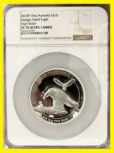 2018 Australia 10 oz silver $10 Wedge Tailed Eagle High Relief NGC PF 70 w/box