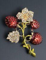 Unique Strawberry Brooch ienamel on gold tone metal
