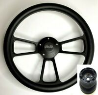"""14"""" Black Steering Wheel (Black Half Wrap, Chevy SS Horn Button, Adapter A01)"""