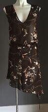 NWOT Klassy KOOKAI Brown Floral Print Drawstring Waist Blouson Dress Size 1(8)