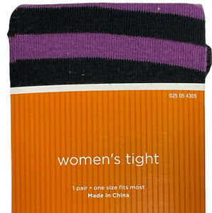 Ladies Tights Black/Purple Striped Halloween Costume Witch Cosplay One Size