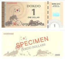 Corea del Sur Dokdo 1 dólares 2012 nuevo espécimen político privado Billete De Fantasía