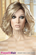 STUNNING Tousled Wavy Lace Front Wig Mono Top Waved Waves Blonde REGROWTH!