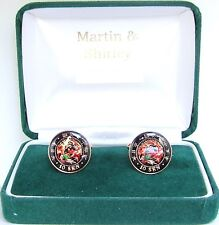 JAPAN  Dragon cufflinks made from real coins over 100 yr old in Black & Colours