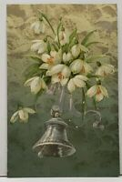 Peaceful Easter White Flowers Silver Gilded  Bell Embossed 1908 OH Postcard G6