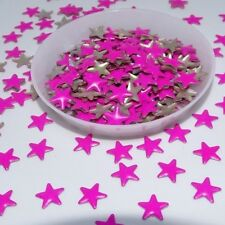 200pcs Hotfix  Neon Pink Metal Star 8x8mm Flatback Rhinestones DIY Heat Transfer