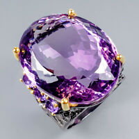 Vintage65ct+ Natural Amethyst 925 Sterling Silver Ring Size 9/R119847