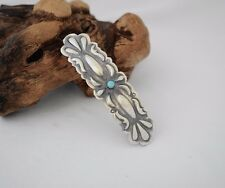 Turquoise Sterling Silver Feather Navajo French Hair Clip GNHB0279